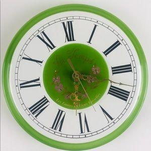 "French Metal Wall Clock, Green Roman Belgium 10"""